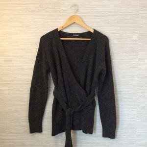 Express Charcoal Gray Wrap Sweater